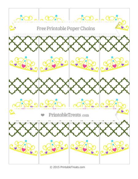 Free Dark Olive Green Moroccan Tile Princess Tiara Paper Chains