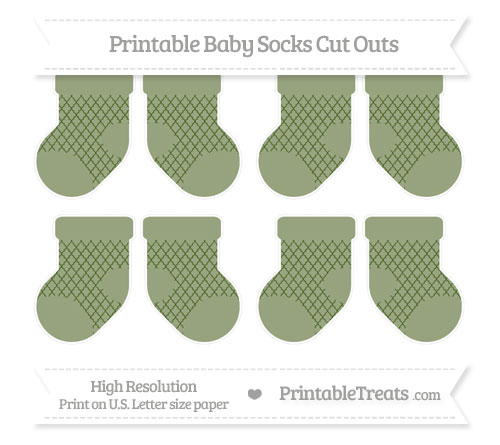 Free Dark Olive Green Moroccan Tile Small Baby Socks Cut Outs