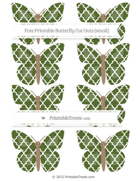 Free Dark Olive Green Moroccan Tile Small Butterfly Cut Outs