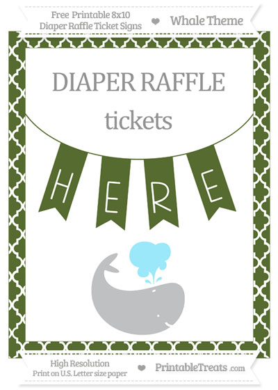Free Dark Olive Green Moroccan Tile Whale 8x10 Diaper Raffle Ticket Sign