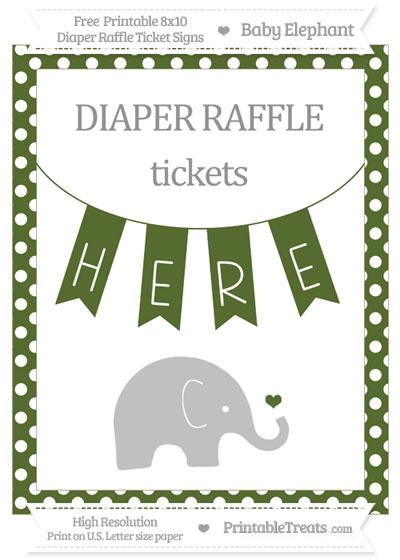 Free Dark Olive Green Polka Dot Baby Elephant 8x10 Diaper Raffle Ticket Sign