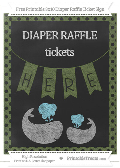 Free Dark Olive Green Polka Dot Chalk Style Baby Whale 8x10 Diaper Raffle Ticket Sign