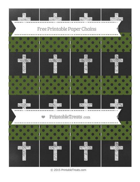 Free Dark Olive Green Polka Dot Chalk Style Cross Paper Chains