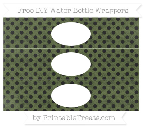 Free Dark Olive Green Polka Dot Chalk Style DIY Water Bottle Wrappers