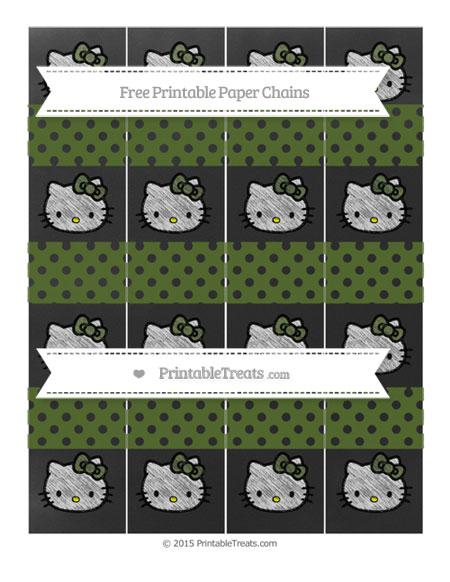 Free Dark Olive Green Polka Dot Chalk Style Hello Kitty Paper Chains