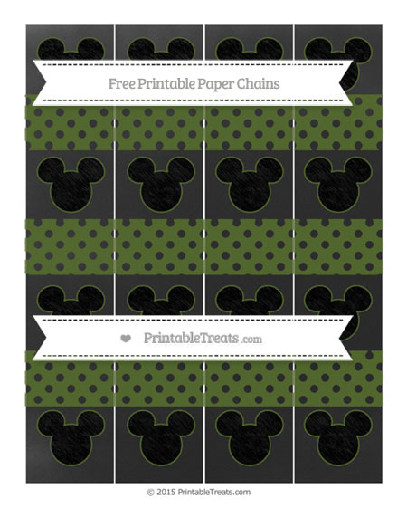 Free Dark Olive Green Polka Dot Chalk Style Mickey Mouse Paper Chains