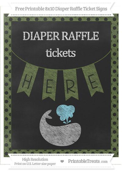Free Dark Olive Green Polka Dot Chalk Style Whale 8x10 Diaper Raffle Ticket Sign