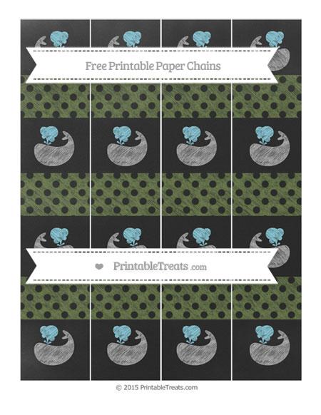 Free Dark Olive Green Polka Dot Chalk Style Whale Paper Chains
