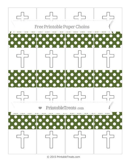 Free Dark Olive Green Polka Dot Cross Paper Chains