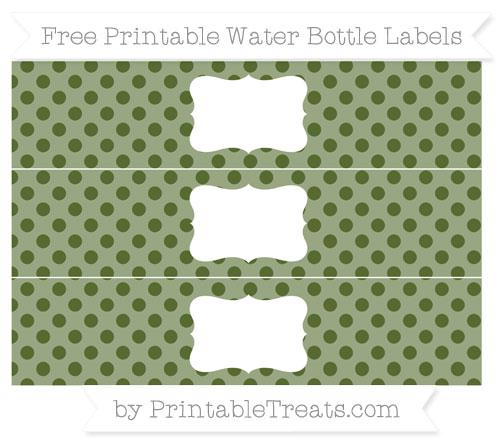 Free Dark Olive Green Polka Dot Water Bottle Labels