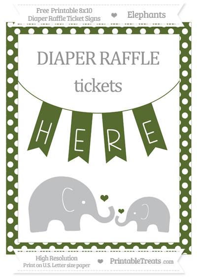 Free Dark Olive Green Polka Dot Elephant 8x10 Diaper Raffle Ticket Sign