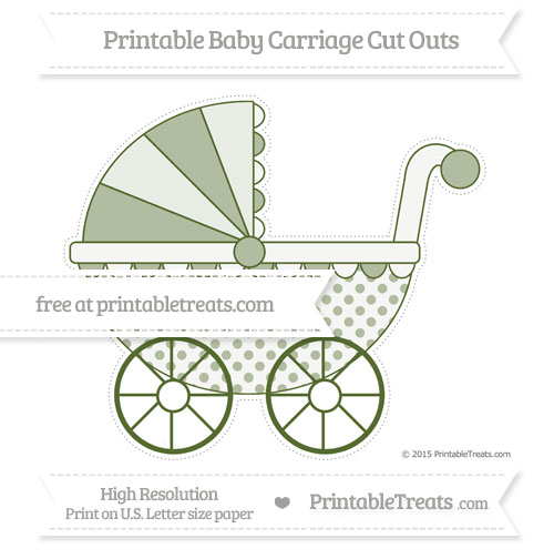 Free Dark Olive Green Polka Dot Extra Large Baby Carriage Cut Outs