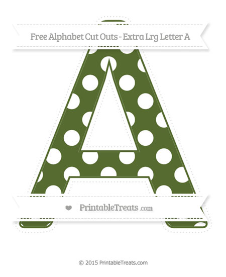 Free Dark Olive Green Polka Dot Extra Large Capital Letter A Cut Outs