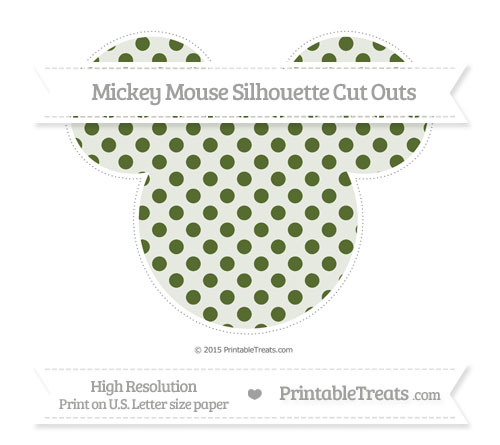 Free Dark Olive Green Polka Dot Extra Large Mickey Mouse Silhouette Cut Outs