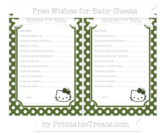 Free Dark Olive Green Polka Dot Hello Kitty Wishes for Baby Sheets
