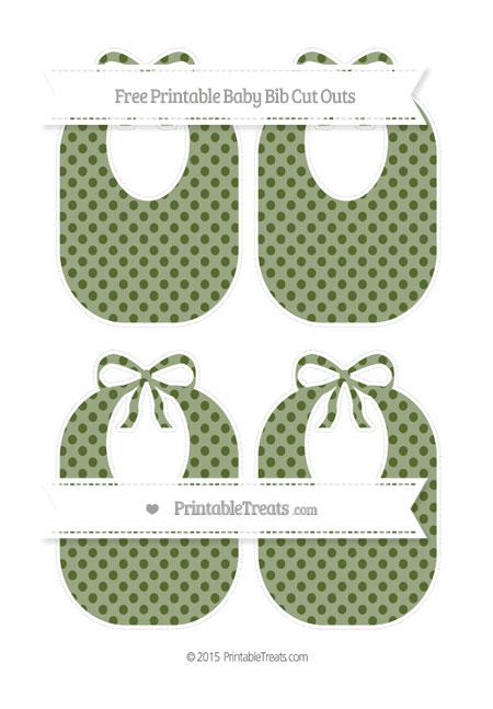 Free Dark Olive Green Polka Dot Medium Baby Bib Cut Outs
