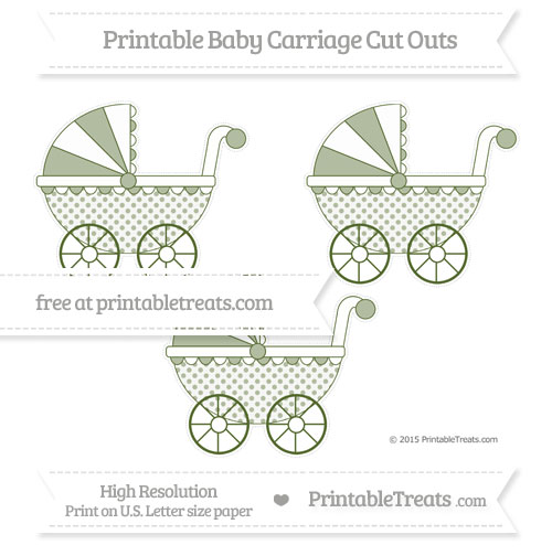 Free Dark Olive Green Polka Dot Medium Baby Carriage Cut Outs