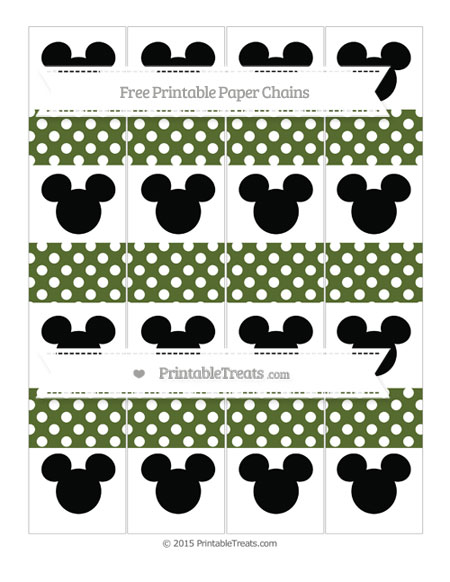 Free Dark Olive Green Polka Dot Mickey Mouse Paper Chains