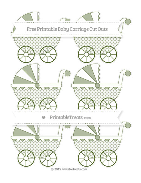 Free Dark Olive Green Polka Dot Small Baby Carriage Cut Outs