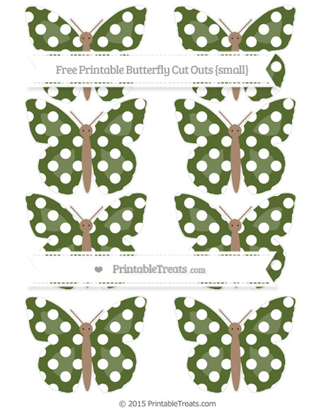Free Dark Olive Green Polka Dot Small Butterfly Cut Outs