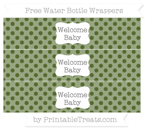Free Dark Olive Green Polka Dot Welcome Baby Water Bottle Wrappers