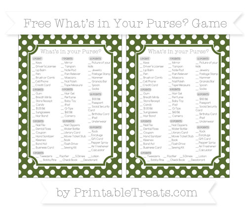 Free Dark Olive Green Polka Dot What's in Your Purse Baby Shower Game