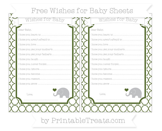 Free Dark Olive Green Quatrefoil Pattern Baby Elephant Wishes for Baby Sheets