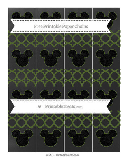 Free Dark Olive Green Quatrefoil Pattern Chalk Style Mickey Mouse Paper Chains