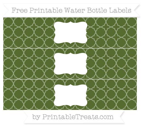Free Dark Olive Green Quatrefoil Pattern Water Bottle Labels