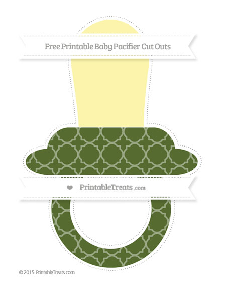 Free Dark Olive Green Quatrefoil Pattern Extra Large Baby Pacifier Cut Outs