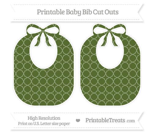 Free Dark Olive Green Quatrefoil Pattern Large Baby Bib Cut Outs