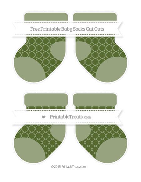 Free Dark Olive Green Quatrefoil Pattern Medium Baby Socks Cut Outs