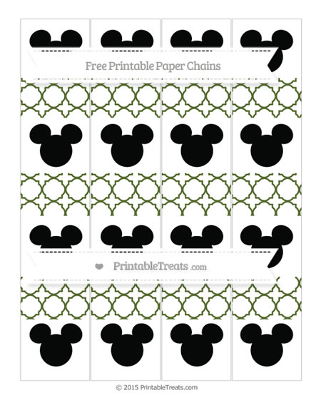 Free Dark Olive Green Quatrefoil Pattern Mickey Mouse Paper Chains