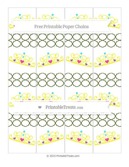 Free Dark Olive Green Quatrefoil Pattern Princess Tiara Paper Chains