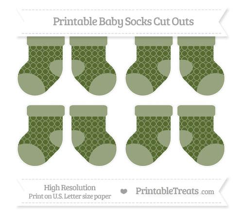 Free Dark Olive Green Quatrefoil Pattern Small Baby Socks Cut Outs