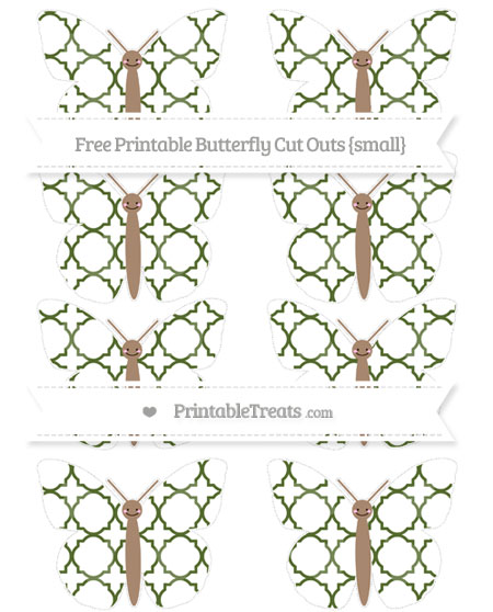 Free Dark Olive Green Quatrefoil Pattern Small Smiley Butterfly Cut Outs