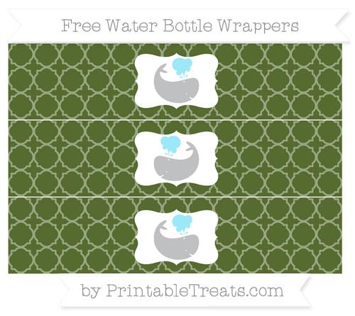 Free Dark Olive Green Quatrefoil Pattern Whale Water Bottle Wrappers