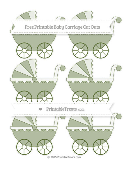 Free Dark Olive Green Small Baby Carriage Cut Outs