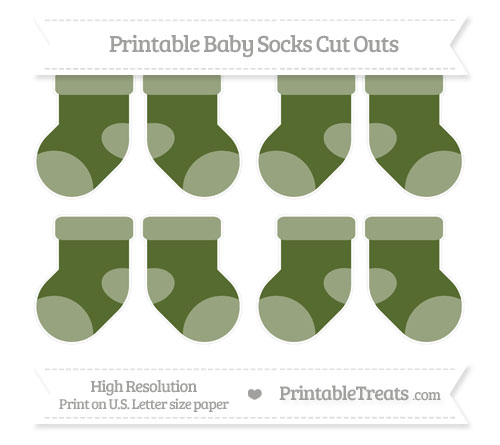 Free Dark Olive Green Small Baby Socks Cut Outs