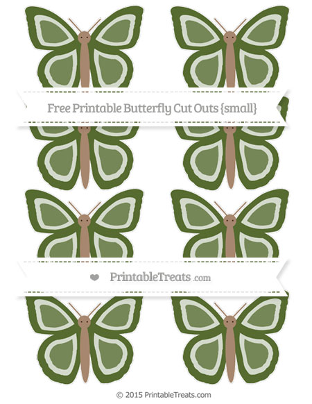 Free Dark Olive Green Small Butterfly Cut Outs