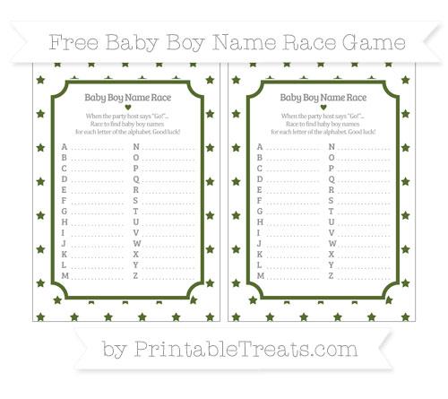 Free Dark Olive Green Star Pattern Baby Boy Name Race Game