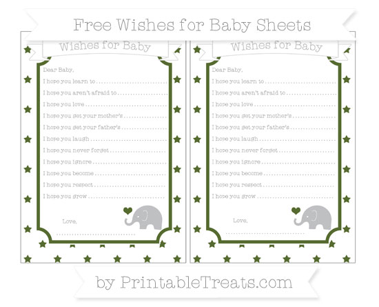 Free Dark Olive Green Star Pattern Baby Elephant Wishes for Baby Sheets