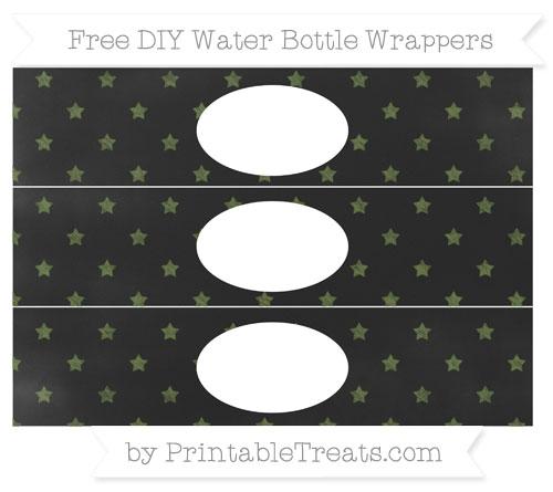 Free Dark Olive Green Star Pattern Chalk Style DIY Water Bottle Wrappers