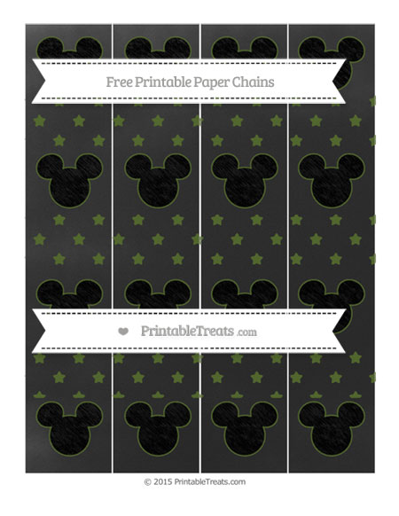 Free Dark Olive Green Star Pattern Chalk Style Mickey Mouse Paper Chains