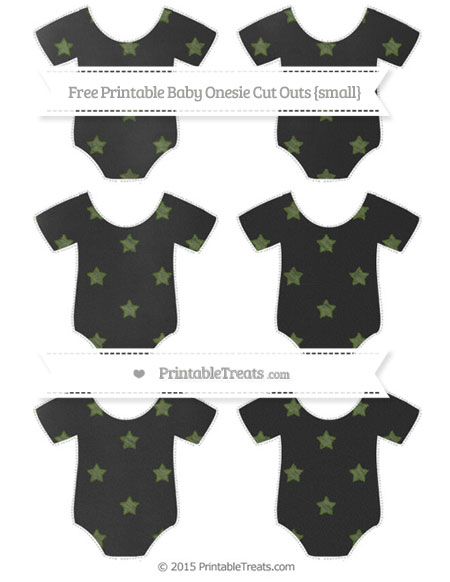 Free Dark Olive Green Star Pattern Chalk Style Small Baby Onesie Cut Outs