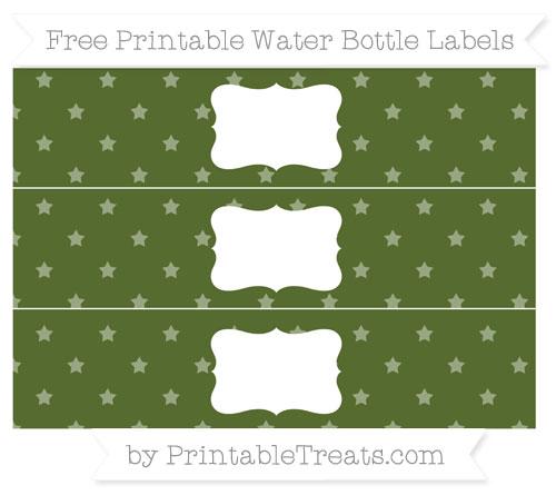 Free Dark Olive Green Star Pattern Water Bottle Labels