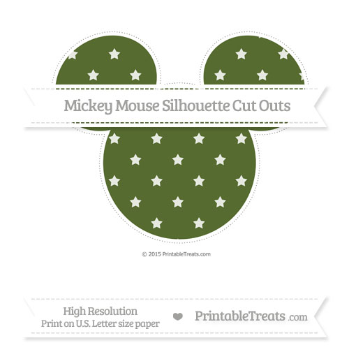 Free Dark Olive Green Star Pattern Extra Large Mickey Mouse Silhouette Cut Outs