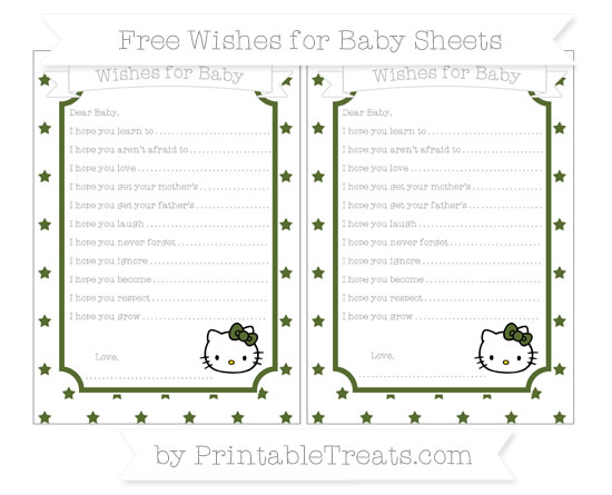 Free Dark Olive Green Star Pattern Hello Kitty Wishes for Baby Sheets