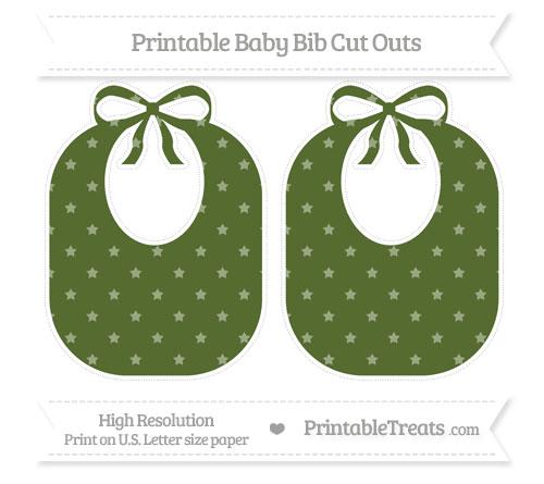 Free Dark Olive Green Star Pattern Large Baby Bib Cut Outs