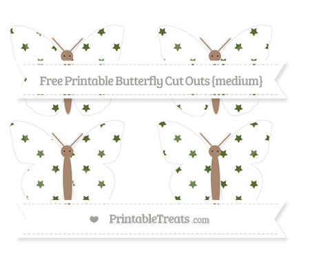 Free Dark Olive Green Star Pattern Medium Butterfly Cut Outs